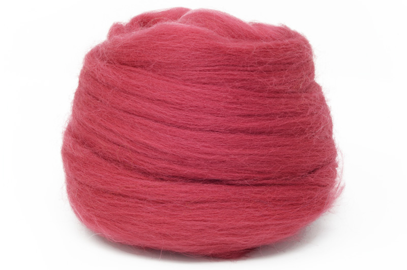 Dyed Corriedale Wool: Red 100gm